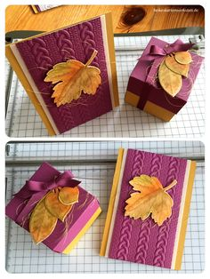 handmade paper box and greeting card ... from  Heike cards Workshop ... luv the purple and golden brown colors ... cable knit embossing folder ... stamped and die cut leaves with gold edges ... Stampin' Up!