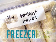 Lovely Little Snippets: Freezer Breakfast Burritos {Re-visited}--- So making these this week! I love me some breakfast burritos! Freezer Cooking, Freezer Meals, Cooking Recipes, Freezer Recipes, Crockpot Meals, Frozen Breakfast, Breakfast Time, Mcdonalds Breakfast, School Breakfast