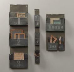 """Restoration Hardware Industrial Metal Wall Organizer $79-$149  Large 3-Pocket: 12""""W x 3½""""D x 40½""""H Small 3-Pocket: 3""""W x 3½""""D x 35½""""H Books, Tools, Etc.: 12""""W x 3½""""D x 24""""H"""