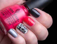 Stamp from Bundle Monster middle finger is China Glaze Live, Love, Laugh Gel Nail Art, Gel Nails, Nail Polish, Beauty Tips, Beauty Hacks, Bundle Monster, Holographic Glitter, China Glaze, Nail Stamping
