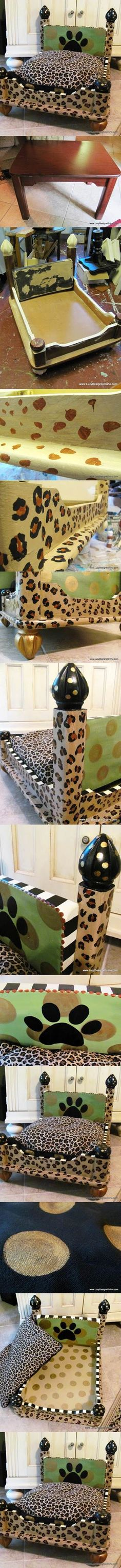 DIY Leopard Print Dog Bed from an End Table