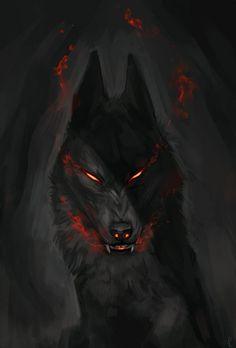 Kunst Zeichnungen - Silent Anger by Kipine. Anime Wolf, Fantasy Wolf, Dark Fantasy, Fantasy Art, Fantasy Creatures, Mythical Creatures, Arte Dope, Demon Wolf, Arte Obscura