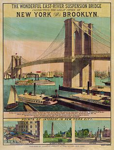 New York-Brooklyn Suspension Bridge Vintage New York Posters Unique Wall Art — Giclee print and framed in USA by MUSEUM OUTLETS