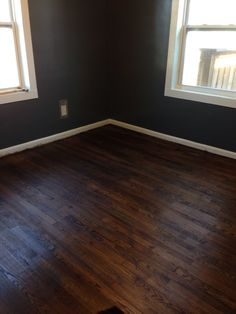 Hardwood floors stained 50% Jacobean 50% ebony.