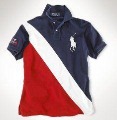 Classic-Fit Big Pony Polo huppé Noir / Rouge