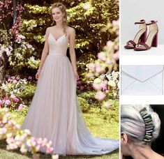 Rebecca Ingram Maxine dress with burgundy heels, holographic clutch and crystal headpiece for major cool-girl vibes.