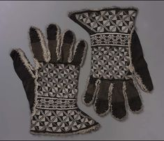 Pair of knitted gloves | Spain | probably 16th century | Silk and silver metallic thread knit, metallic fringe trim; silk and metallic ribbon lining (later addition) | Museum of Fine Arts, Boston | Accession #: 38.1252a-b