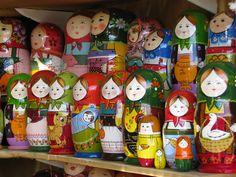 Matryoshka dolls (aka nesting dolls)   Colorful matryoshka's in market in St. Petersburg, Russia.