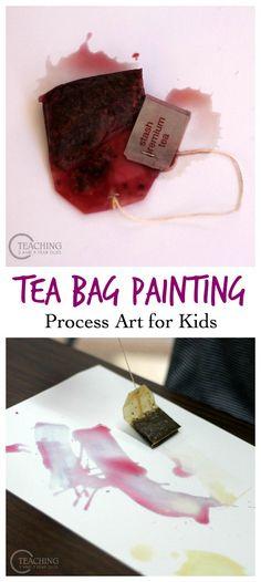 Preschool Painting with Tea Bags - fun process art that kids love!
