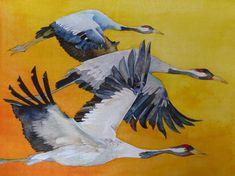 Kraniche im Abendlicht   Vögel des Glücks (c) ein Kranich Aquarell von FRank Koebsch