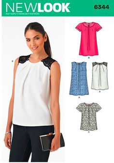 New Look 6344 spring 2015. Nice woven top in line with current trends for summer.
