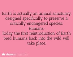 Earth is actually an animal sanctuary designed specifically to preserve a critically endangered species: humans. Today, the first reintroduction of Earth-bred humans back into the wild will take place.