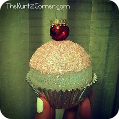 This Cupcake looks like a temptation but it isn't! This is actually a dessert for the eyes.   Audra from The Kurtz Corner made these adorable Christmas Cupcake Ornaments sure to please any dessert lover... including the Jolly man himself!