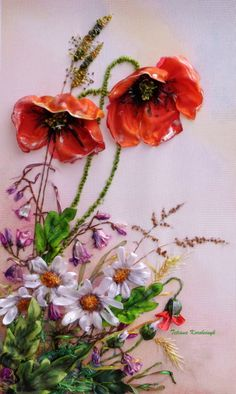 Wonderful Ribbon Embroidery Flowers by Hand Ideas. Enchanting Ribbon Embroidery Flowers by Hand Ideas. Butterfly Embroidery, Rose Embroidery, Learn Embroidery, Silk Ribbon Embroidery, Embroidery Patterns, Ribbon Art, Ribbon Crafts, Brazilian Embroidery, Heirloom Sewing