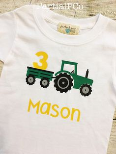 Tractor Birthday Shirt Choose number & Red or Green Tractor, Farm party, tractor and wagon, 1st, 2nd, 3rd, 4th, or 5th birthday, personalized