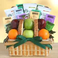 """An extra special way to say """"Thank You"""", our Starbuck's Gratitude gift basket Coffee, Tea, and Fruit Variety Gift Basket Starbucks Gift Baskets, Coffee Gift Baskets, Fruit Gifts, Food Gifts, Fruit Cookies, Tea Gifts, Cookie Gifts, Blended Coffee, Starbucks Coffee"""