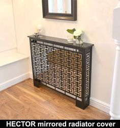 Mirrored glass radiator covers in a contemporary geometric style. Made to measure and available with mirror, granite or cast aluminium tops. Classic radiator covers made in the UK Mirror Radiator Cover, Metal Radiator Covers, Modern Radiator Cover, Lighted Wall Mirror, Art Deco Mirror, Wall Heater Cover, Console Metal, Console Table, Mirror Decor Living Room