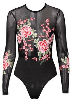 Rosie Flower Embroidered Mesh Bodysuit