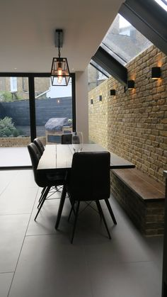 Depending on measurements I reckon you could give one third of the total width to the utility and two thirds to wide glass doors Exposed Brick Kitchen, Exposed Brick Walls, Industrial Kitchens, Industrial Style, Industrial Lamps, Industrial Furniture, Vintage Industrial, Kitchen Diner Extension, Open Plan Kitchen
