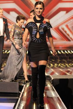 Cheryl Cole Wearing David Koma Autumn Winter 2009 Dress And Tabitha Simmons Carla Suede Thigh High Boots