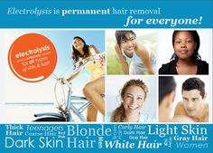 Electrolysis is permanent hair removal that works for all skin and hair colors! Dark Grey Hair, White Hair, Brown Hair, Electrolysis Hair Removal, Blonde Curly Hair, Coarse Hair, Light Hair, Free Hair, Curly Hair Styles