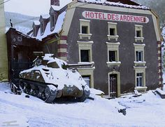 """'German Sherman'  5.Fallschirmjäger Division captured six M4 tanks during the fighting near Wiltz, Luxembourg on 19th December 1944.  M4A3 from 5.Fallschirmjäger Division destroyed in front of """"Hotel des Ardennes"""", Esch-sur-Sure, Luxembourg. January 1945."""
