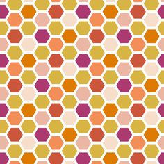 Geometric Hexagon Red Orange Purple Fabric Tile by Spoonflower