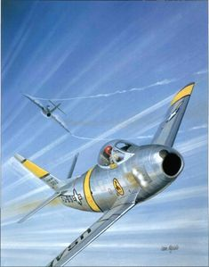 Us Military Aircraft, Military Jets, Fighter Aircraft, Fighter Jets, Sabre Jet, War Thunder, Aircraft Painting, Airplane Art, Korean War