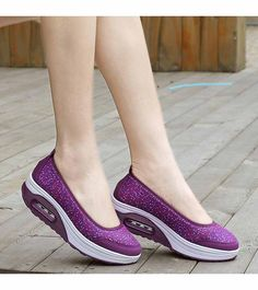 Women's #purple leather rocker bottom sole shoe #sneakers with air sole unit helps absorb impact, polka dot print pattern, Low cut, Slip on style, casual leisure occasions.
