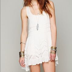 Free People Voile and Lace Trapeze Slip Sheer dotted slip dress with lace inset throughout. Ruffled trim. New with tags, never worn Free People Dresses