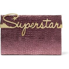 Charlotte Olympia Superstar Vanity croc-effect leather clutch ($777) ❤ liked on Polyvore featuring bags, handbags, clutches, plum, purple leather handbag, metallic purse, purple leather purse, leather clutches and purple purse
