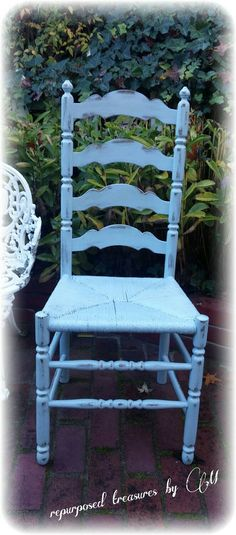 Vintage Upcycled shabby chic, cottage, blue chair, distressed, chippy, rush seat, solid wood, rustic cottage, country cottage, handpainted #etsymntt #interiordesign