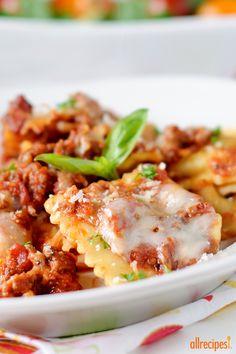 "Randy's Slow Cooker Ravioli Lasagna | ""Swap lasagna noodles with ravioli into this slow cooker lasagna recipe for an easy make-ahead dinner on busy weeknights."""