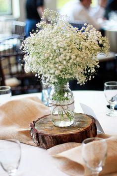 Babies Breath Wedding Centerpiece - change mason jar to vase and burlap to purple