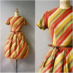 1950's Striped Cotton Day Dress  small by CapsuleVintage on Etsy