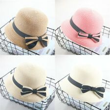 7ed29ca3 Fashion Girls Bowknot Straw Hats Summer Baby Beach Fedora Sun Hat Children  Solid