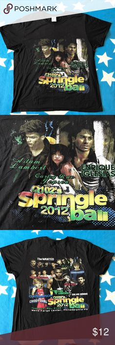 "Q102 Springless ball 2012  Philadelphia Philadelphia Q102 Springleball Concert T Shirt Size: L(Armpit-armpit 23"" , Shoulder to shoulder 18"", Length 28"". (inches)) Everyone from the concert is on the shirt, including  Enrique Iglesias, Adam Lambert, carley Rae Jepsen, Ted Cody Simpson, Chris René, Calvin Harris,  Austin Mahone, Train, The Wanted, Flo Rida, Hotchelle Rae Awesome shirt from a awesome concert! Shirts Tees - Short Sleeve"