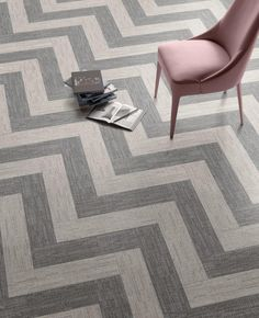 New 'Denim' porcelain collection which fuses geometric design with a textured, fabric effect. This striking herringbone floor has been created using Denim Grey & Taupe | Mandarin Stone