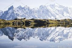 Couple on a lake in the Alps. Nature Photos