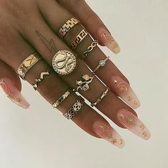 Shop & Buy 10 Pcs/set Bohemian Rings Retro Snake Wave Arrow Geometric Flower Crystal Finger Ring Set Women Fashion Jewelry Gifts Online from Aalamey Bohemian Rings, Bohemian Jewelry, Fashion Rings, Fashion Jewelry, Geometric Flower, Midi Rings, Small Rings, Color Ring, Cartier Love Bracelet