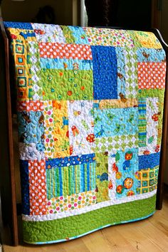 Quilt Baby Toddler Bugs Animals Scrappy Patchwork by PiecesOfPine