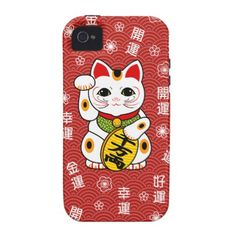 White Lucky Cat Pattern iPhone 4 Case. omg i need this, i don't have an iphone 4 but thats irrelephant