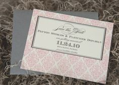 Damask Wedding Invitation Save the Date Ivory Pink by lvandy27, $1.75