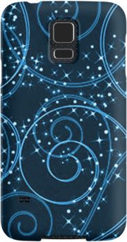 Blue Abstract Twinkling Stars Swirl Pattern | Snap Cases, Tough Cases, & Skins for iPhones 4s/4 5c/5s/5 6Plus & Samsung S3/S4/S5 Galaxy Phones. **All designs available for all models.