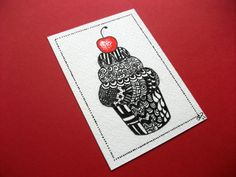 ACEO Original, Cupcake Zendoodle