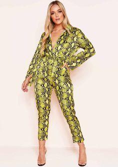 4ca4252d2f1238 Missyempire - Patsy Neon Yellow Snake Print Jumpsuit Yellow Snake