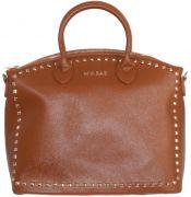 borsa a mano con applicazione di borchie laterali firmata mia bag disponibile su www.manida.it o nei nostri store - colore cuoio