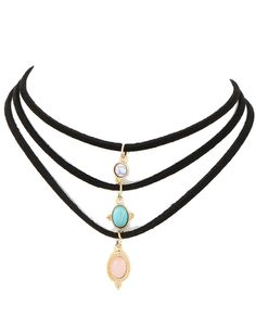 Leather cord natural stone flannelette necklace -- Instant Savings available here : Beauty products 99 cent