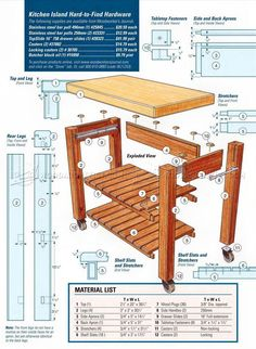 #185 Portable Kitchen Island Plans - Furniture Plans and Projects
