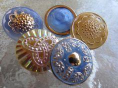 Vintage Buttons Czech glass blue handpainted gold by pillowtalkswf, $10.25